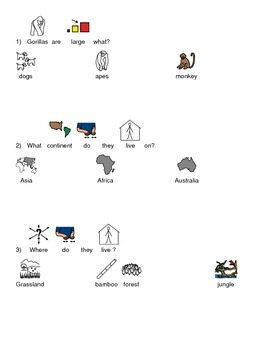 Gorilla Picture Supported Text article review lesson with questions