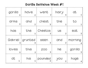 FREEBIE Sample Gorilla Sentences- Build a Better Sentence Writing Activity Free