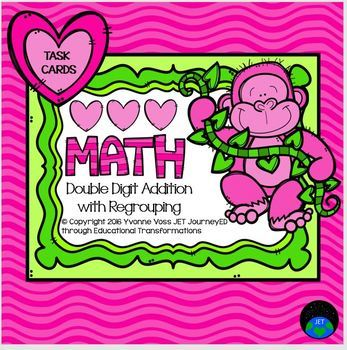 Gorilla Valentine Double Digit Addition with No Regrouping