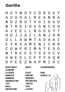 Gorilla by Anthony Brown Word Search