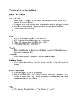 Gospel According to Mark by Jorge Luis Borges Worksheet