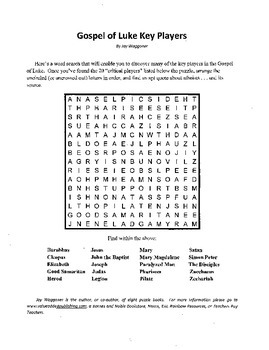 Gospel of Luke Key Players,Word Search,Bible Study,Sunday