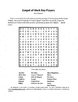Gospel of Mark Word Search & Crossword,Bible Study,History,Sunday School