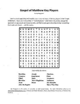 Gospel of Matthew Key Players,Word Search,Bible Study,Sunday School,Bible