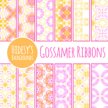 Gossamer Ribbons Background / Digital Paper in Pastal Pink and Yellow