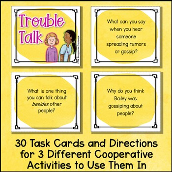"Gossip and Rumors: ""Trouble Talk"" Task Cards and Round Robin Sheets"