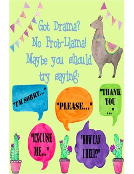 graphic about Llama Printable called Acquired Drama No Prob-Llama! Poster Printable