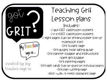 Got Grit? Lesson plans and planning pages, goal setting