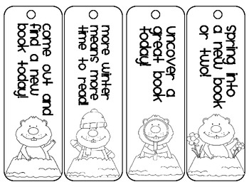 Got Groundhogs?, Set of 4 Bookmarks and a Coloring Page!