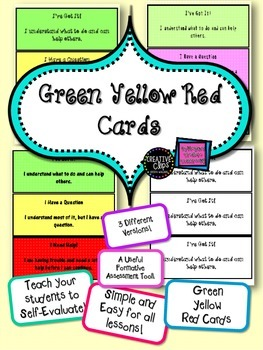 FREE! Got It Cards - Green Yellow Red for Self-Assessment Easy to Use Printable