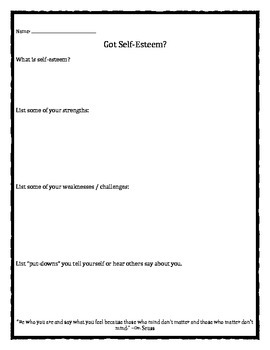 image regarding Self Esteem Printable Worksheets named Self Esteem Worksheets Lecturers Pay back Lecturers