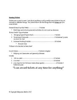 Got Tickets? Positive Reinforcement Classroom Management in High School