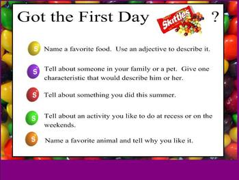 Got the First Day Skittles (Jitters)?  Ice breaker activity SMARTBoard version