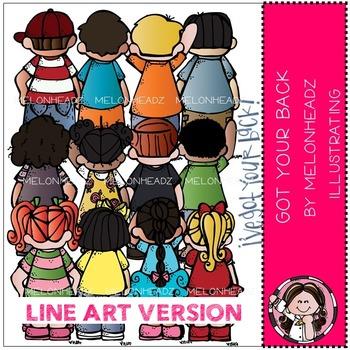 Melonheadz: Got your back clip art - LINE ART