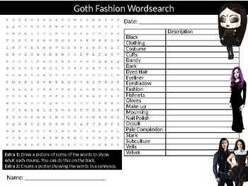 Goth Fashion Wordsearch Sheet Starter Activity Keywords Fabric Textiles Design