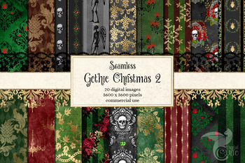 Gothic Christmas Digital Paper - Set 2