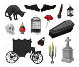 Gothic Clipart - Goth Digital PNG Graphics