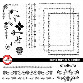 Gothic Frames & Borders Digital Halloween Clipart by Poppydreamz