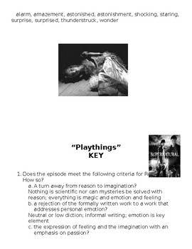 """Gothic Literature Conventions Activity: """"Playthings"""" Episode from Supernatural."""