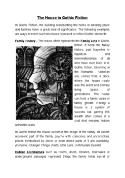 Gothic Literature - House cross section - lecture, notes, assignment genre work