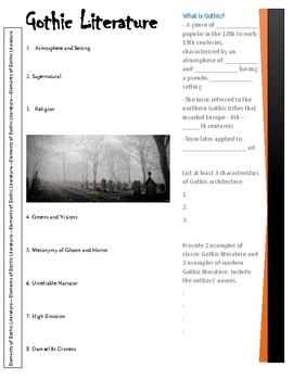 gothic literature powerpoint handoutmrs cs classroom creations, Powerpoint templates