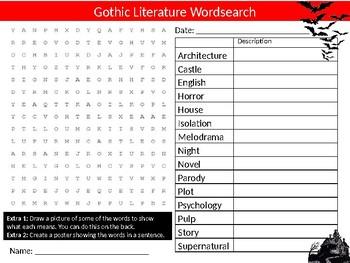 Gothic Literature Wordsearch Sheet Cartoon Starter Activity Keywords English