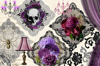 Gothic Romance Digital Scrapbooking Kit, Clipart and Digital Paper