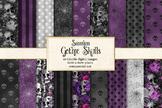 Gothic Skull Patterns, purple black and white goth digital