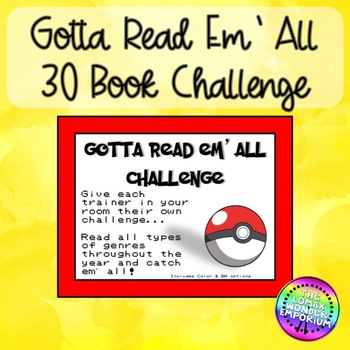 Gotta Read Em All 30 Book Challenge Themed Book Log