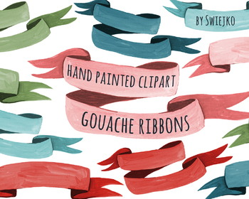 Gouache and watercolor ribbons, banner