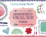 Gouache & watercolor shapes, borders, frames, arrows, ribbons