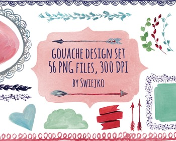 Gouache & watercolor shapes, borders, frames, arrows, ribbons