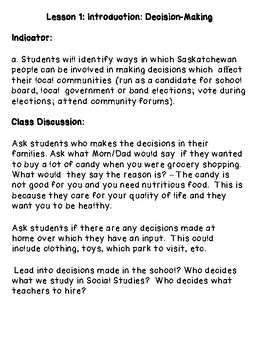 Governance Structures in Saskatchewan - Grade 4 Social Studies