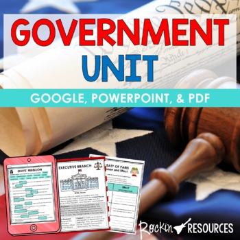 GOVERNMENT UNIT with Informational Text and Activities PLU