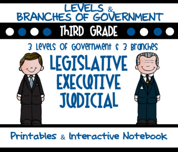 Government: 3 Levels & 3 Branches - Interactive Notebook &