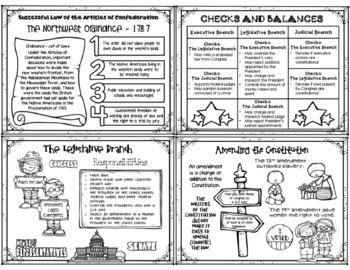 Government Anchor Charts - For Students - B/W - Constitution / Three Branches