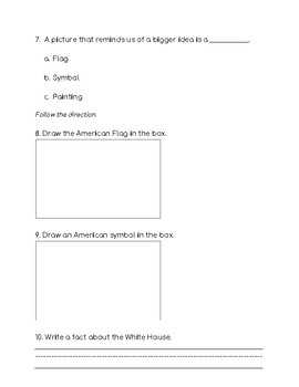 Government Assessment- My Country quiz/test- American Symbols