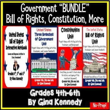 Government Bundle, Constitution, Three Branches of Government, Bill of Rights