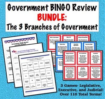 Government Bingo Bundle: Three Branches of Government
