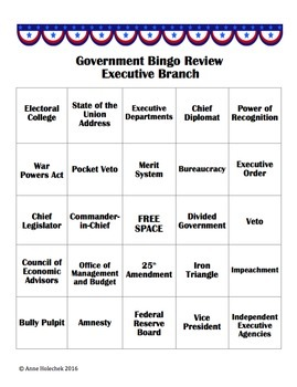 Government Bingo Bundle: Three Branches of Government