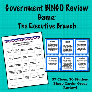 Government Bingo Review Game: Executive Branch