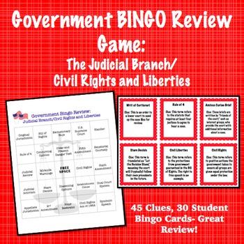 Government Bingo Review Game: Judicial Branch