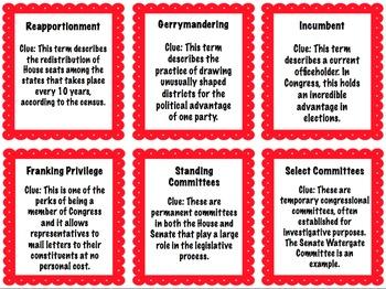 Government Bingo Review Game: Legislative Branch