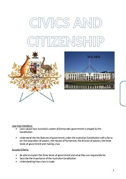 Government Booklet (Civics and Citizenship)