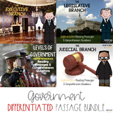 Levels of Government and Branches of Government Reading Passages BUNDLE