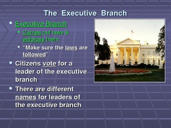 Government Branches, Distribution of Power and Citizen Participation PPT Lesson