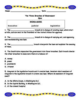 Government - Branches of Government Quiz