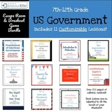 Customizable Bundle of 11 Government  Escape Room / Breakout Games