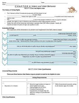 Government: Chp 6 Voter and Voter Behavior guided notes