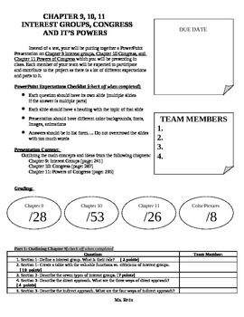 Government: Chp 9,10,11 Powerpoint Project Direction Sheet